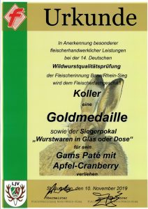Goldmedaille 2019 Gams Pate mit Apfel-Cranberry