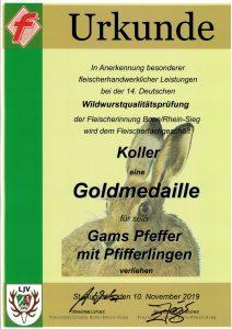 Goldmedaille 2019 Gams Pfeffer mit Pfifferlingen