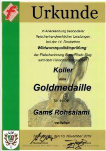 Goldmedaille 2019 Gams Salami