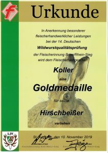 Goldmedaille 2019 Hirschbeißer