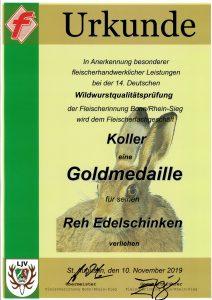 Goldmedaille 2019 Reh Edelschinken